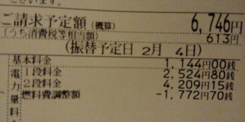 電気代6746円